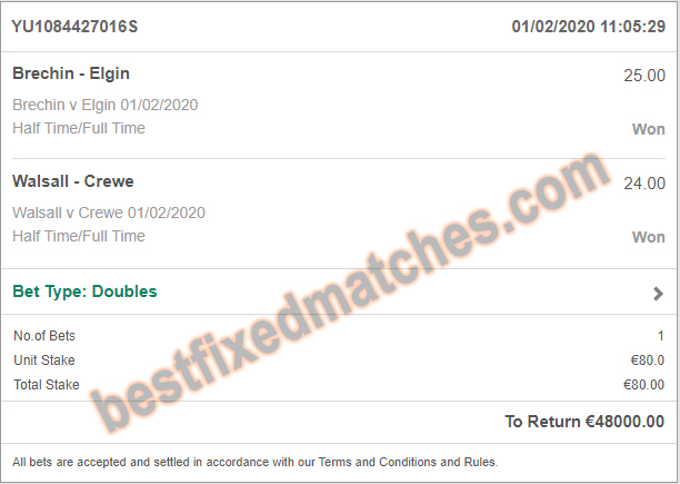 yesterday winning fixed matches