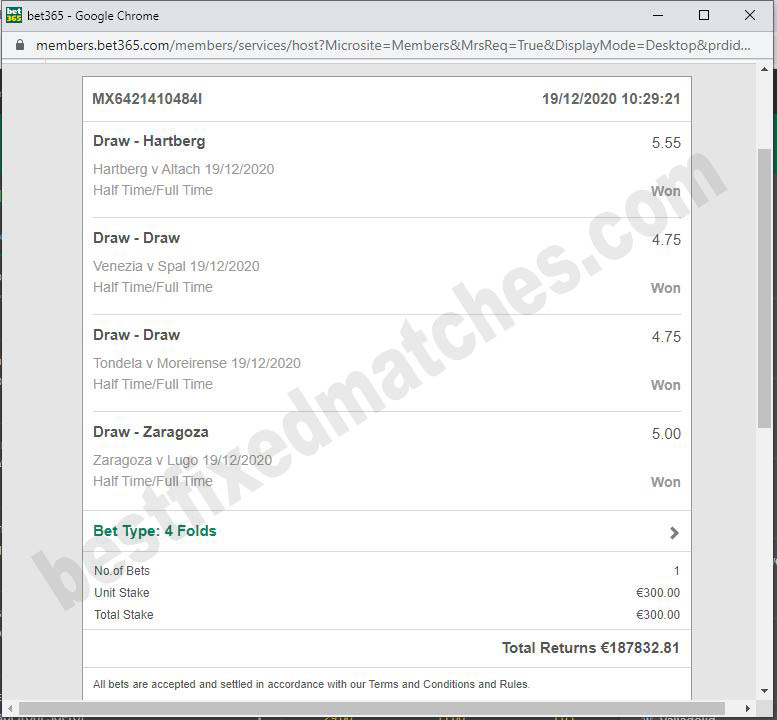best fixed matches ticket strong