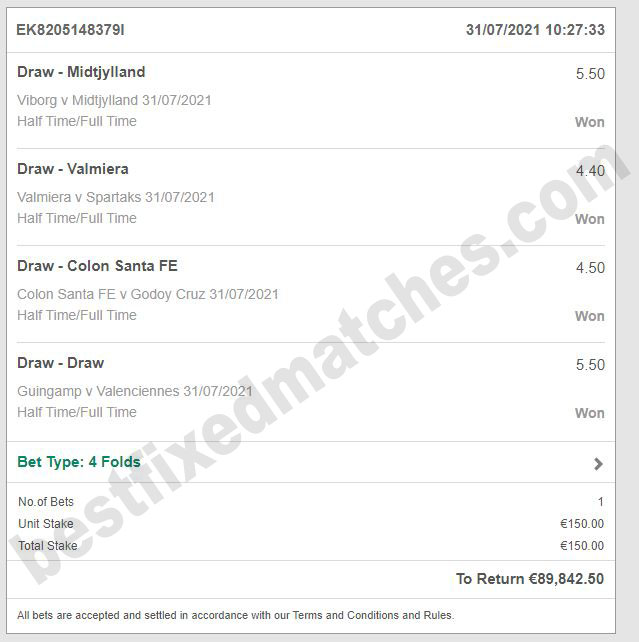 best fixed matches 100% strong ticket